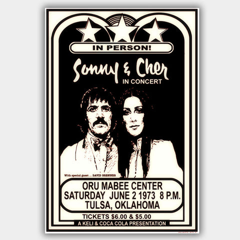Sonny & Cher with David Brenner (1973) - Concert Poster - 13 x 19 inches