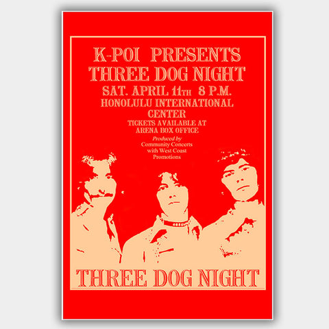 Three Dog Night (1970) - Concert Poster - 13 x 19 inches
