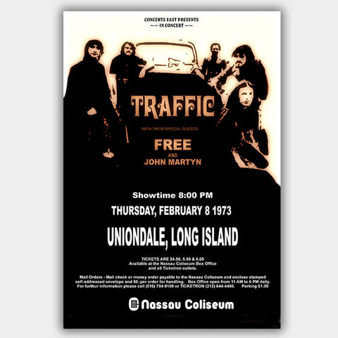 Traffic with Free (1973) - Concert Poster - 13 x 19 inches