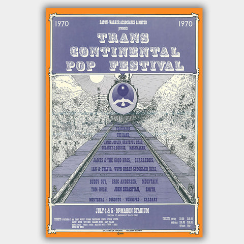 Trans Continental Pop Fest with Joplin & The Band & Dead (1970) - Concert Poster - 13 x 19 inches