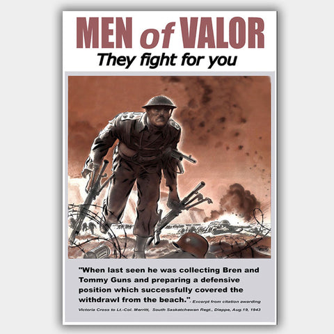 War Poster - Men Of Valor - 13 x 19 inches