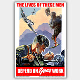 War Poster - Work - 13 x 19 inches