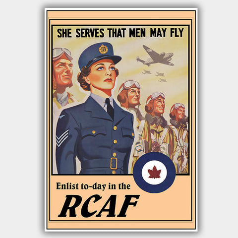 "RCAF - ""She Serves"" - War Poster - 13 x 19 inches"