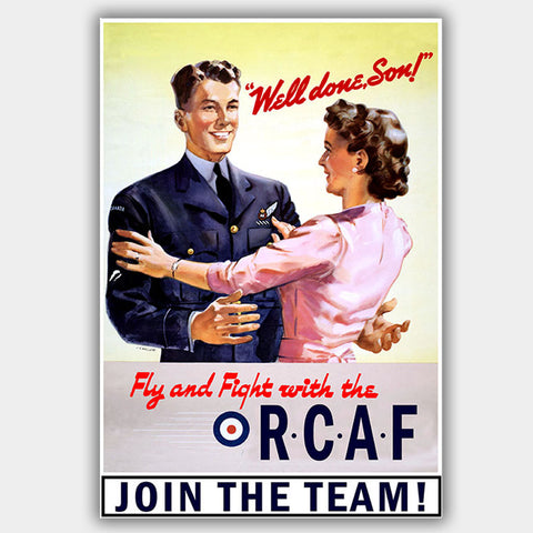 "RCAF - ""Well Done"" - War Poster - 13 x 19 inches"