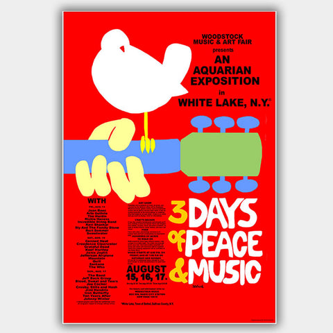 Woodstock  with   (1969) - Concert Poster - 13 x 19 inches
