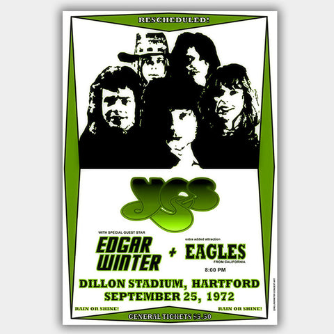 Yes with Eagles/E.Winter (1972) - Concert Poster - 13 x 19 inches