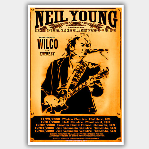 Neil Young with Wilco (2008) - Concert Poster - 13 x 19 inches