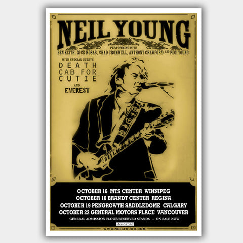 Neil Young with Deathcab For Cut (2008) - Concert Poster - 13 x 19 inches