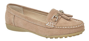 Boulevard Rose Taupe Suede Loafer