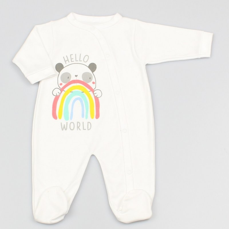 "BABY ""HELLO WORLD"" PANDA RAINBOW COTTON SLEEPSUIT"