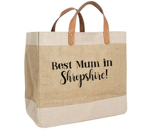 'Best Mum in ...' Luxury Jute Bag with leather handles