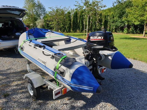 Inflatable Boat on boat trailer