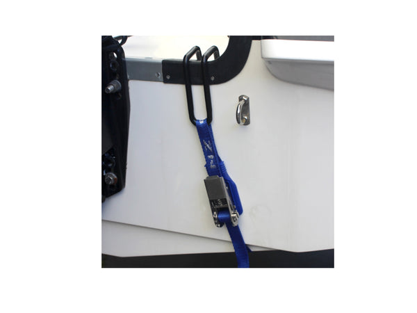 Transom Hook with Stainless Steel Ratchet Tiedown - TRTSS - Rockboat Marine