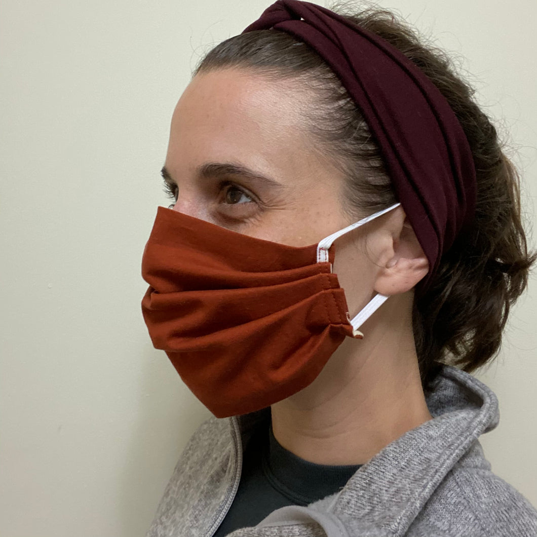 Solid Rust Pleated Face Mask