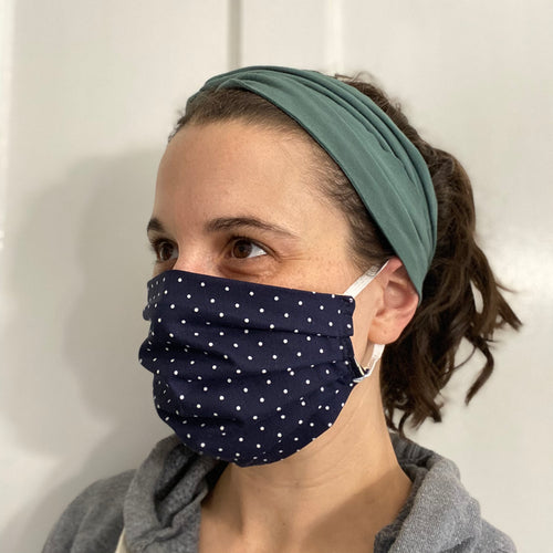 Navy Polka Dots Pleated Face Mask