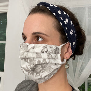 Grey Flowers Pleated Face Mask
