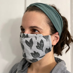 Black Flowers Grey 3D face mask