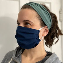 Load image into Gallery viewer, Navy/Sea Glass Reversible Pleated Face Mask