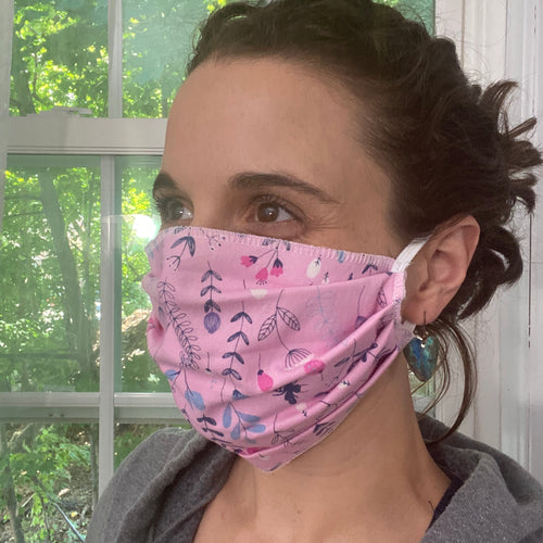 Pink floral pleated face mask