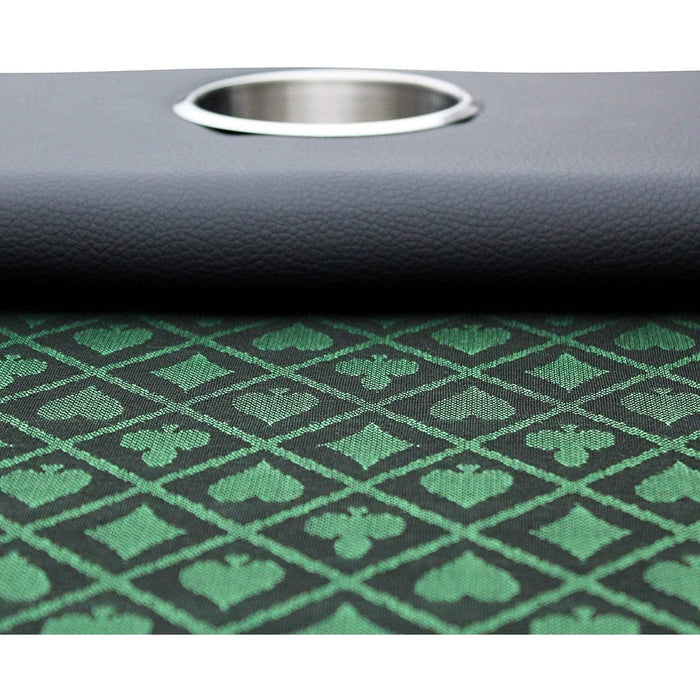 Green Speed Cloth 96 x43 Inch Stainless Steel Cup Holders Poker Table poker