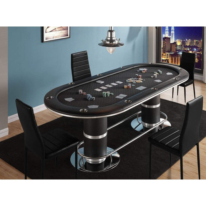 High-Speed Cloth Stainless Steel Pedestal Leg Poker Table poker