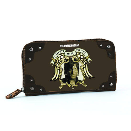 The Walking Dead In Daryl We Trust Brown Clutch Wallet