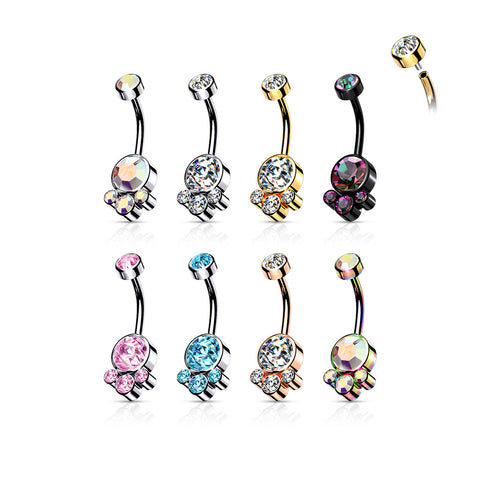 Round Cluster Crystal Stone Set with Internally Threaded Top 316L Surgical Steel Belly Rings