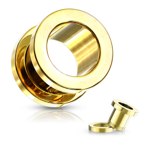 Gold Screw Fit Flesh Tunnels