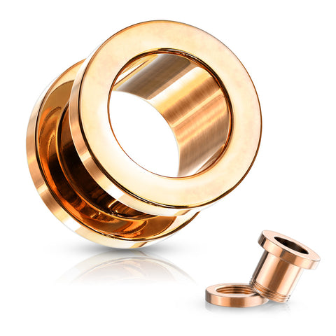 Rose Gold Screw Fit Flesh Tunnels