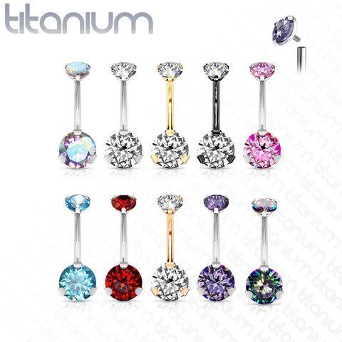 Implant Grade Titanium Internally Threaded Top Prong Set Double Round CZ Belly Button