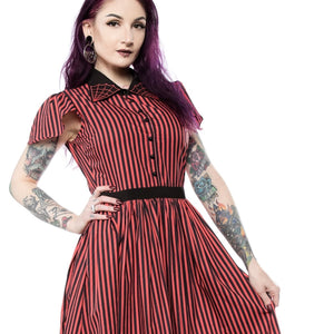 STRIPED SPIDERWEB LYDIA DRESS RED/BLK