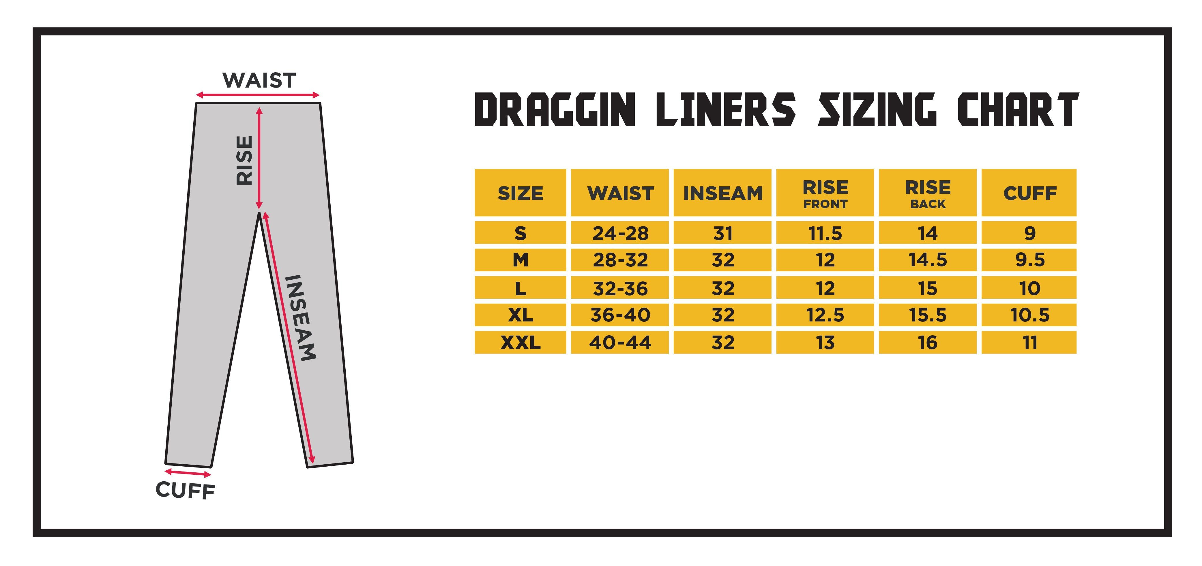 Draggin Liners Size Chart