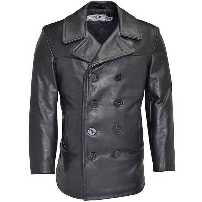 Schott Collection Mens 140 Leather Naval Peacoat