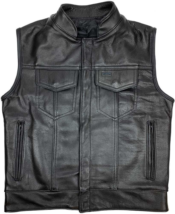 Legendary Outlaw Mens Leather Motorcycle Vest with Gun Pockets