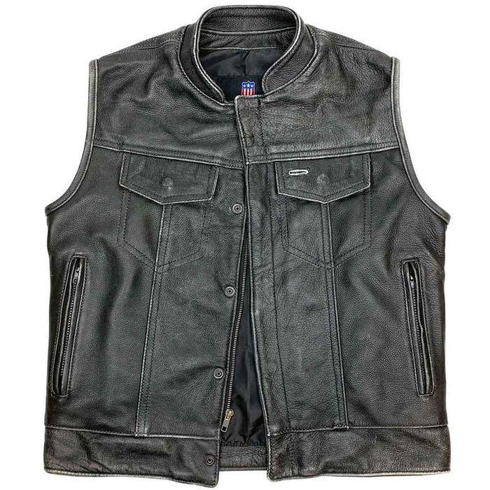 Legendary Reckless Outlaw Mens Aged Leather Motorcycle Vest