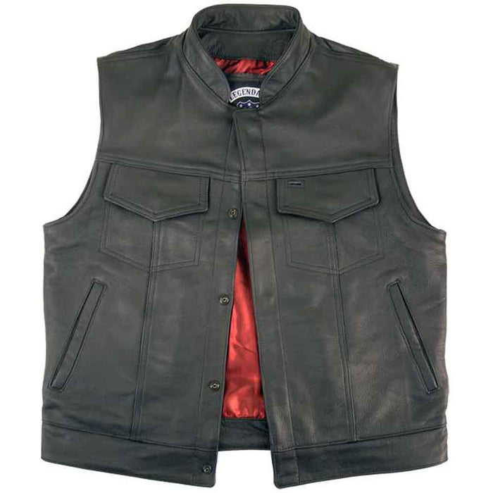 Legendary Reaper Mens Leather Motorcycle Vest with Gun Pockets