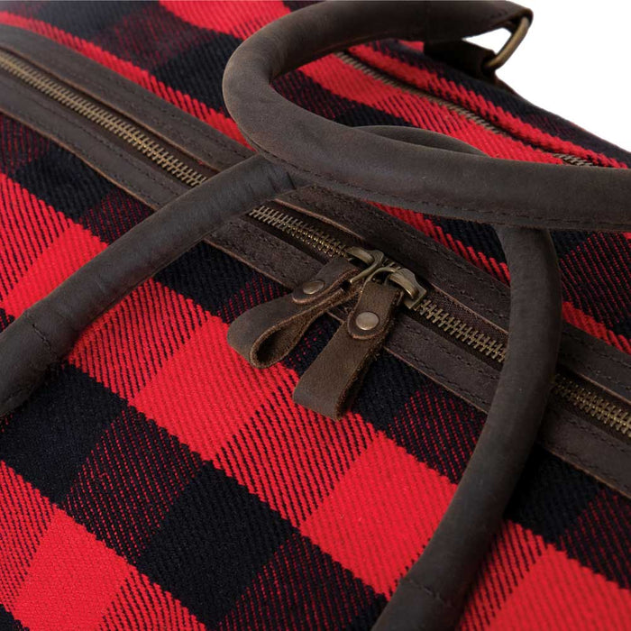 Red Check Canvas Extended Weekender Bag