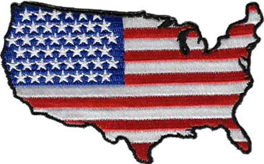 US Map American Flag Patch