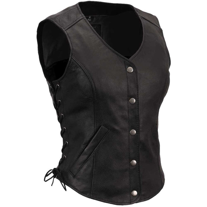 First Mfg Womens Honey B Side Lace Classic Leather Motorcycle Vest