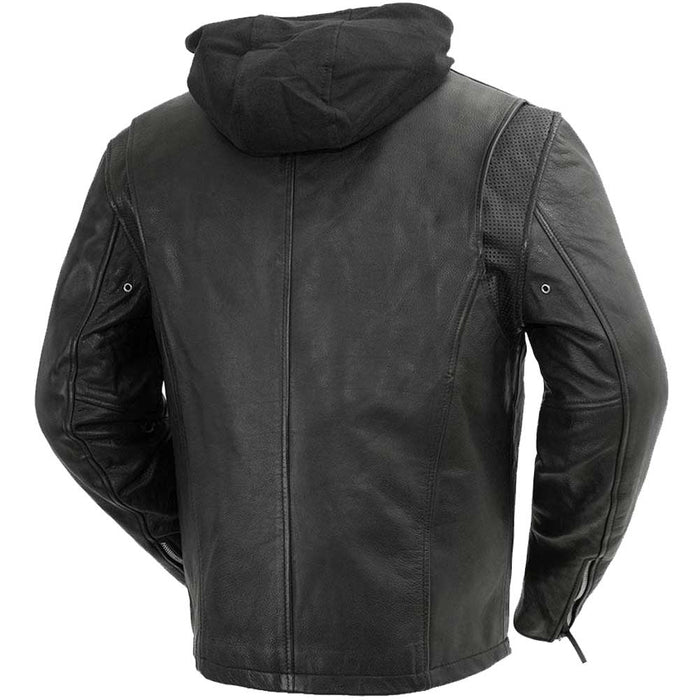 First Mfg Mens Street Cruiser Hooded Leather Motorcycle Jacket