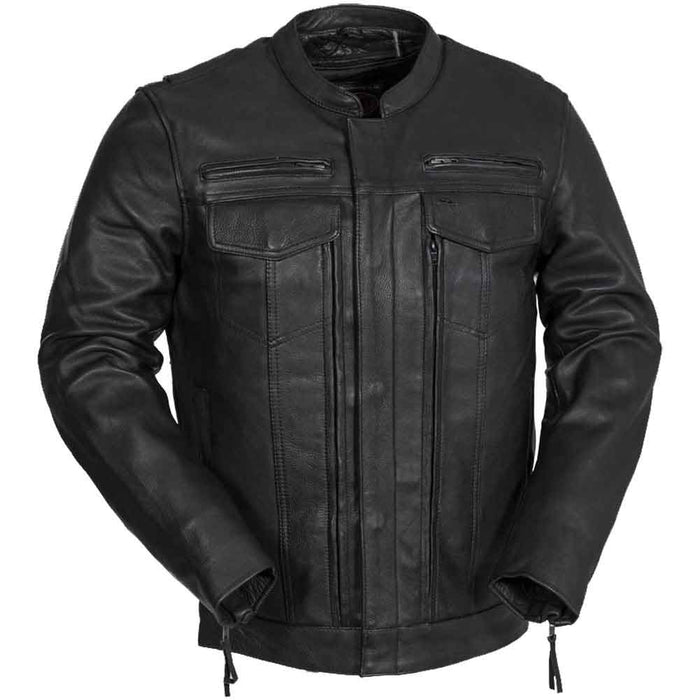 First Mfg Mens Raider Vented Leather Motorcycle Jacket