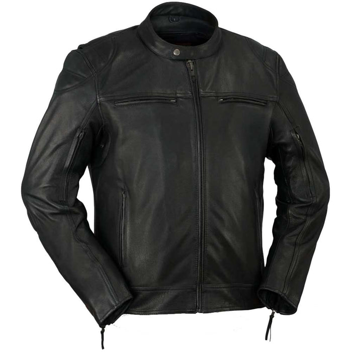 First Mfg Mens Top Performer Vented Leather Motorcycle Jacket