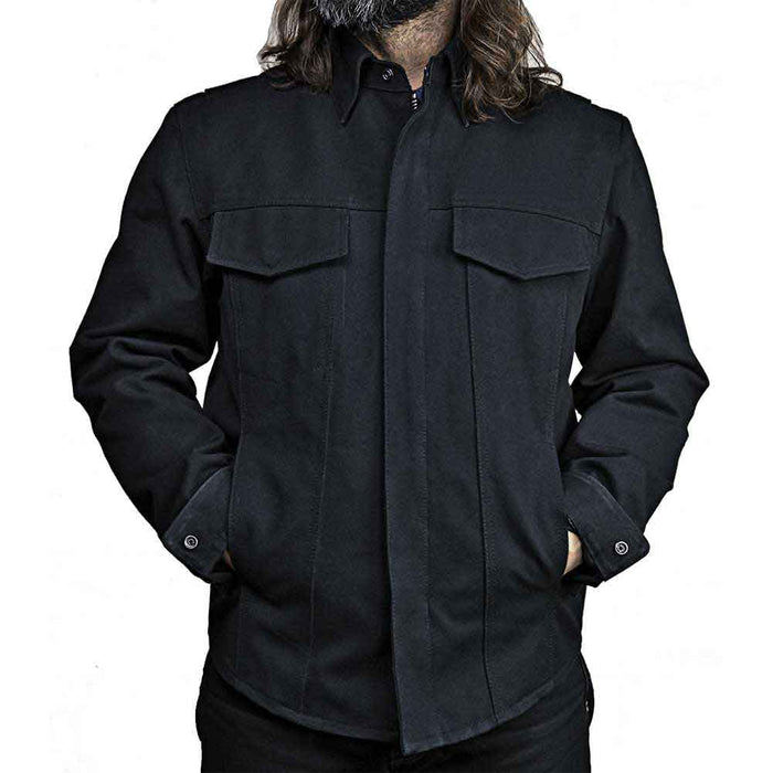 First Mfg Mens Mercer Black Raw Canvas Shirt