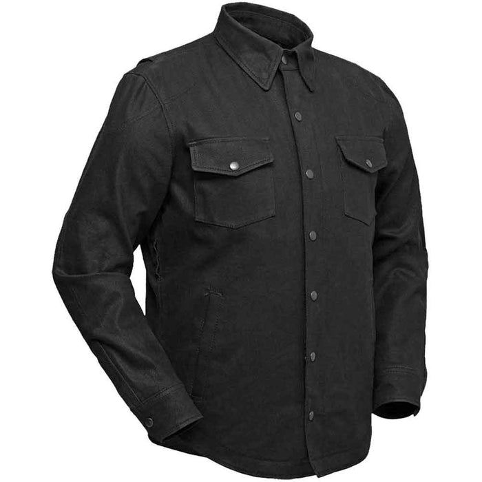 First Mfg Mens Equalizer Black Waxed Cotton Riding Shirt