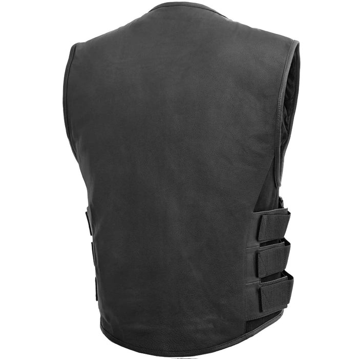 First Mfg Mens Commando SWAT Team Style Leather Motorcycle Vest