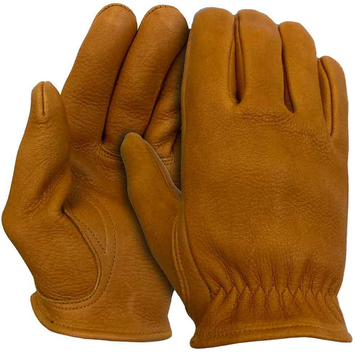 Legendary Mens Tan Deerskin Leather Short Wrist Motorcycle Gloves