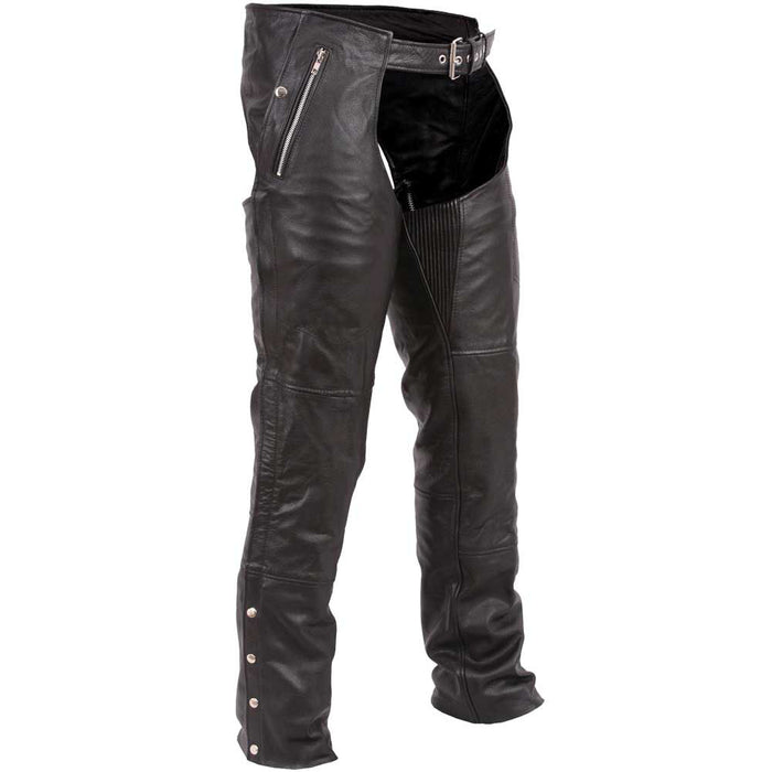 First Mfg Mens Patriot Insulated Leather Motorcycle Chaps