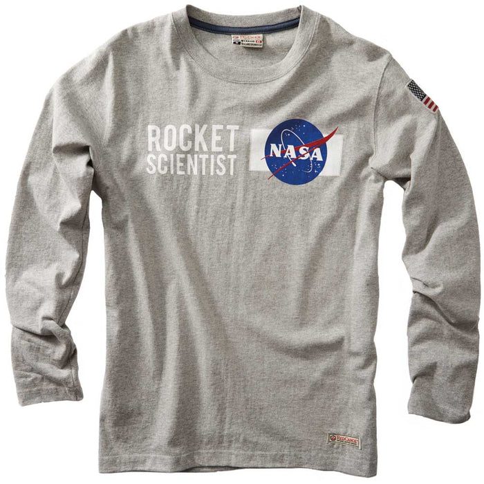 NASA Rocket Scientist Grey Long Sleeve Shirt