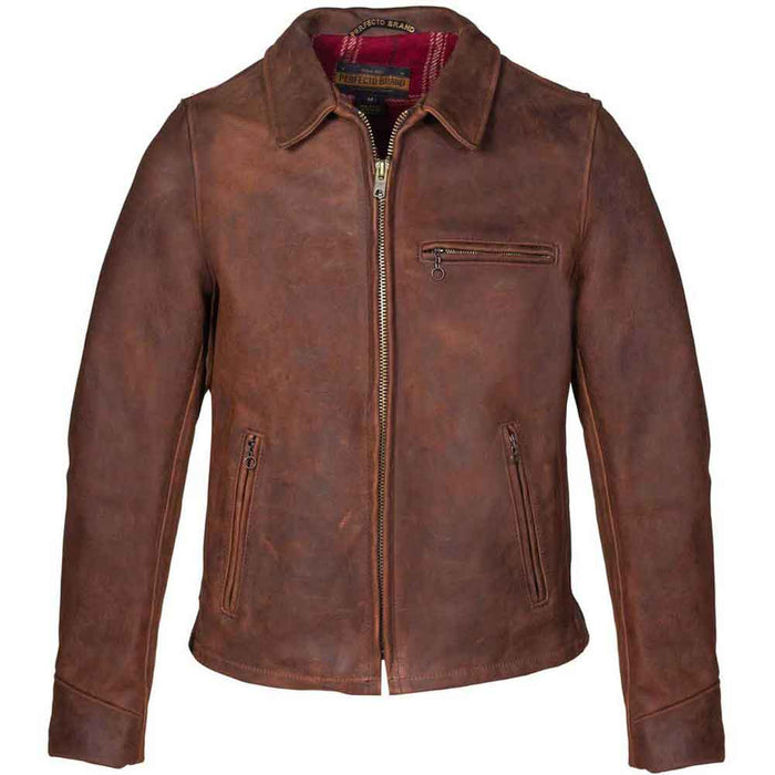 Schott Collection Mens P673 Storm Heavyweight Oiled Nubuck Leather Biker Jacket
