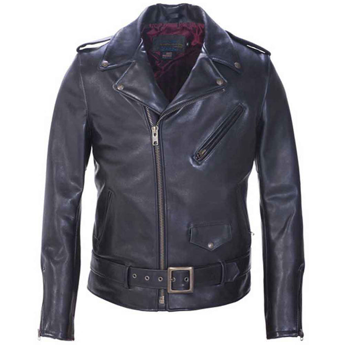 Schott Collection Mens PER22 Leather Motorcycle Jacket